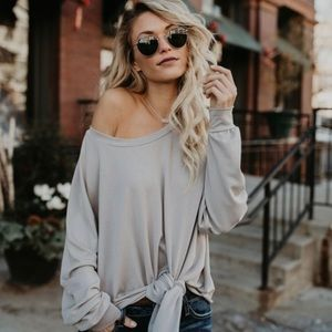 Taupe/Grey Twist Off the Shoulder Shirt